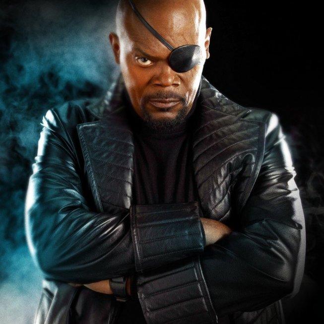 Nick Fury (Samuel L. Jackson) dans Avengers, Iron Man 2 et Captain America