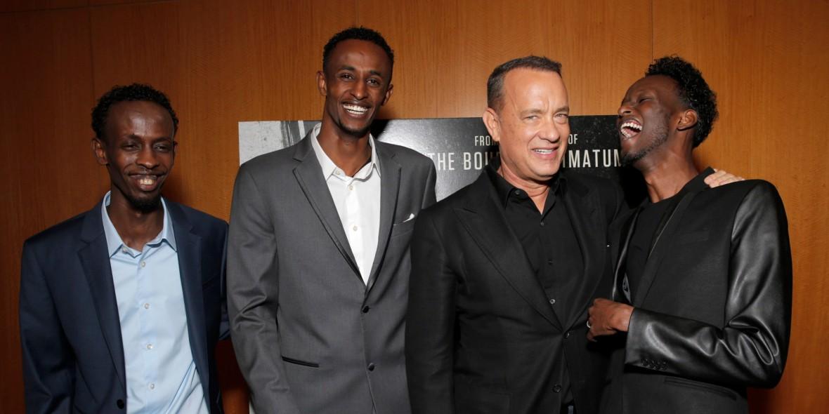 Actors Barkhad Abdi, Faysal Ahmed, Tom Hanks, Mahat M. Ali
